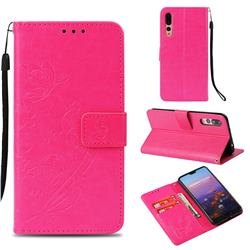 Embossing Butterfly Flower Leather Wallet Case for Huawei P20 Pro - Rose