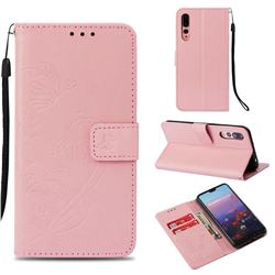 Embossing Butterfly Flower Leather Wallet Case for Huawei P20 Pro - Pink