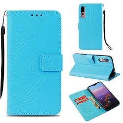 Embossing Butterfly Flower Leather Wallet Case for Huawei P20 Pro - Blue