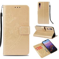 Embossing Butterfly Flower Leather Wallet Case for Huawei P20 Pro - Champagne