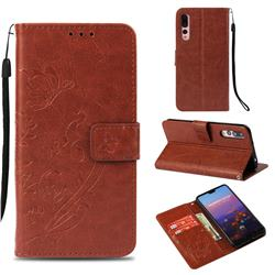 Embossing Butterfly Flower Leather Wallet Case for Huawei P20 Pro - Brown