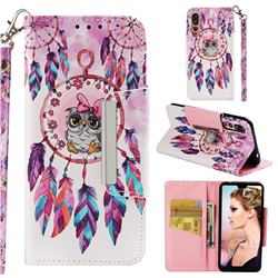 Owl Wind Chimes Big Metal Buckle PU Leather Wallet Phone Case for Huawei P20 Pro