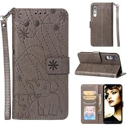 Embossing Fireworks Elephant Leather Wallet Case for Huawei P20 Pro - Gray