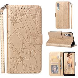Embossing Fireworks Elephant Leather Wallet Case for Huawei P20 Pro - Golden