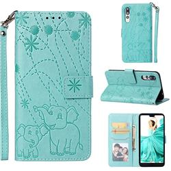 Embossing Fireworks Elephant Leather Wallet Case for Huawei P20 Pro - Green