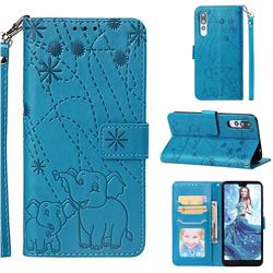 Embossing Fireworks Elephant Leather Wallet Case for Huawei P20 Pro - Blue