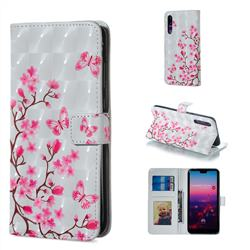 Butterfly Sakura Flower 3D Painted Leather Phone Wallet Case for Huawei P20 Pro
