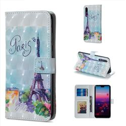 Paris Tower 3D Painted Leather Phone Wallet Case for Huawei P20 Pro
