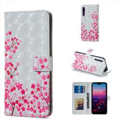 Cherry Blossom 3D Painted Leather Phone Wallet Case for Huawei P20 Pro