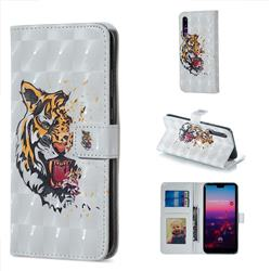 Toothed Tiger 3D Painted Leather Phone Wallet Case for Huawei P20 Pro