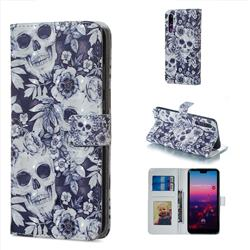 Skull Flower 3D Painted Leather Phone Wallet Case for Huawei P20 Pro