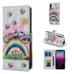 Rainbow Owl Family 3D Painted Leather Phone Wallet Case for Huawei P20 Pro