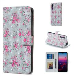 Roses Flower 3D Painted Leather Phone Wallet Case for Huawei P20 Pro