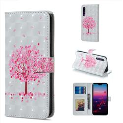 Sakura Flower Tree 3D Painted Leather Phone Wallet Case for Huawei P20 Pro