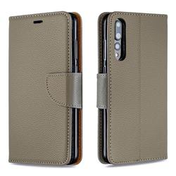 Classic Luxury Litchi Leather Phone Wallet Case for Huawei P20 Pro - Gray