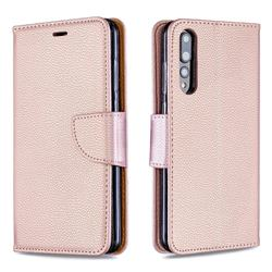 Classic Luxury Litchi Leather Phone Wallet Case for Huawei P20 Pro - Golden