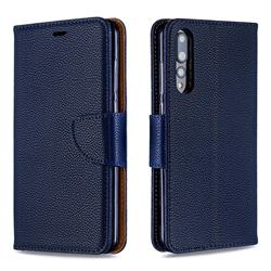 Classic Luxury Litchi Leather Phone Wallet Case for Huawei P20 Pro - Blue