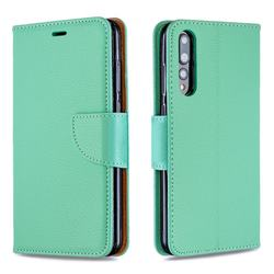 Classic Luxury Litchi Leather Phone Wallet Case for Huawei P20 Pro - Green