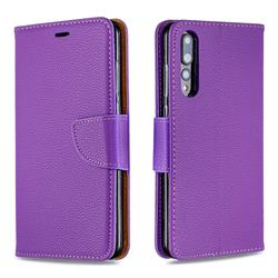Classic Luxury Litchi Leather Phone Wallet Case for Huawei P20 Pro - Purple