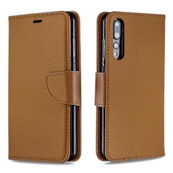 Classic Luxury Litchi Leather Phone Wallet Case for Huawei P20 Pro - Brown
