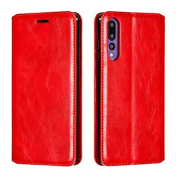 Retro Slim Magnetic Crazy Horse PU Leather Wallet Case for Huawei P20 Pro - Red