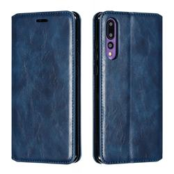 Retro Slim Magnetic Crazy Horse PU Leather Wallet Case for Huawei P20 Pro - Blue