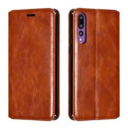 Retro Slim Magnetic Crazy Horse PU Leather Wallet Case for Huawei P20 Pro - Brown