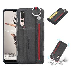 British Style Canvas Pattern Multi-function Leather Phone Case for Huawei P20 Pro - Black