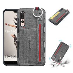 British Style Canvas Pattern Multi-function Leather Phone Case for Huawei P20 Pro - Gray