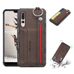 British Style Canvas Pattern Multi-function Leather Phone Case for Huawei P20 Pro - Brown