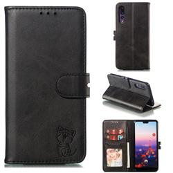 Embossing Happy Cat Leather Wallet Case for Huawei P20 Pro - Black