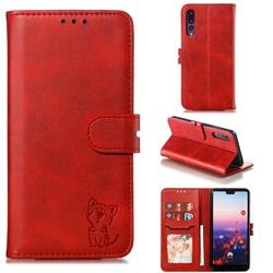 Embossing Happy Cat Leather Wallet Case for Huawei P20 Pro - Red
