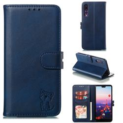 Embossing Happy Cat Leather Wallet Case for Huawei P20 Pro - Blue
