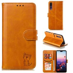 Embossing Happy Cat Leather Wallet Case for Huawei P20 Pro - Yellow