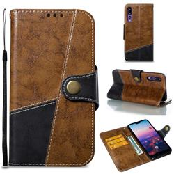 Retro Magnetic Stitching Wallet Flip Cover for Huawei P20 Pro - Brown