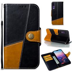 Retro Magnetic Stitching Wallet Flip Cover for Huawei P20 Pro - Black