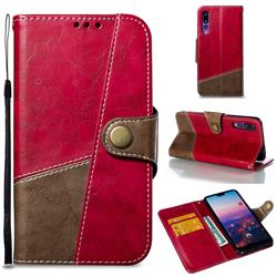 Retro Magnetic Stitching Wallet Flip Cover for Huawei P20 Pro - Rose Red