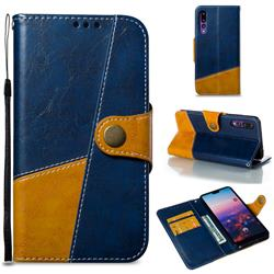 Retro Magnetic Stitching Wallet Flip Cover for Huawei P20 Pro - Blue
