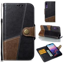 Retro Magnetic Stitching Wallet Flip Cover for Huawei P20 Pro - Dark Gray