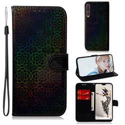 Laser Circle Shining Leather Wallet Phone Case for Huawei P20 Pro - Black