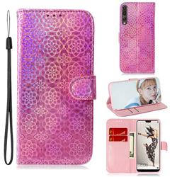Laser Circle Shining Leather Wallet Phone Case for Huawei P20 Pro - Pink