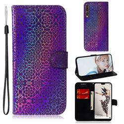 Laser Circle Shining Leather Wallet Phone Case for Huawei P20 Pro - Purple