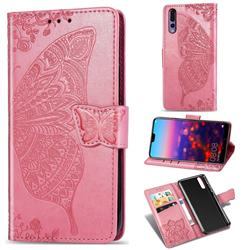 Embossing Mandala Flower Butterfly Leather Wallet Case for Huawei P20 Pro - Pink