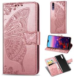 Embossing Mandala Flower Butterfly Leather Wallet Case for Huawei P20 Pro - Rose Gold