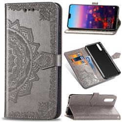 Embossing Imprint Mandala Flower Leather Wallet Case for Huawei P20 Pro - Gray