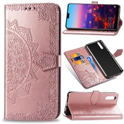 Embossing Imprint Mandala Flower Leather Wallet Case for Huawei P20 Pro - Rose Gold
