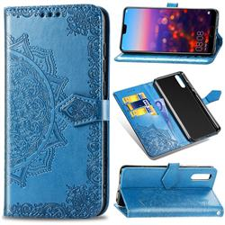 Embossing Imprint Mandala Flower Leather Wallet Case for Huawei P20 Pro - Blue