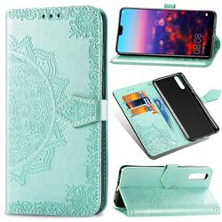 Embossing Imprint Mandala Flower Leather Wallet Case for Huawei P20 Pro - Green