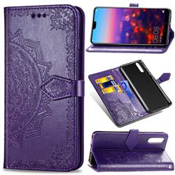 Embossing Imprint Mandala Flower Leather Wallet Case for Huawei P20 Pro - Purple