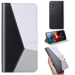 Tricolour Stitching Wallet Flip Cover for Huawei P20 Pro - Black